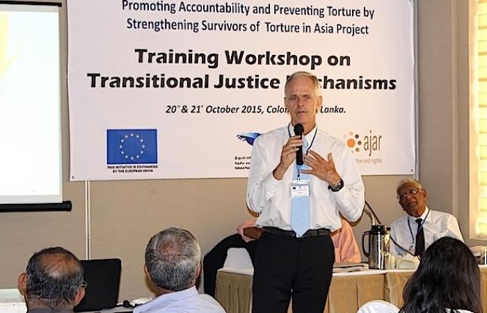 TJ expert and trainer Patrick Burgess addresses a workshop on Transitional Justice